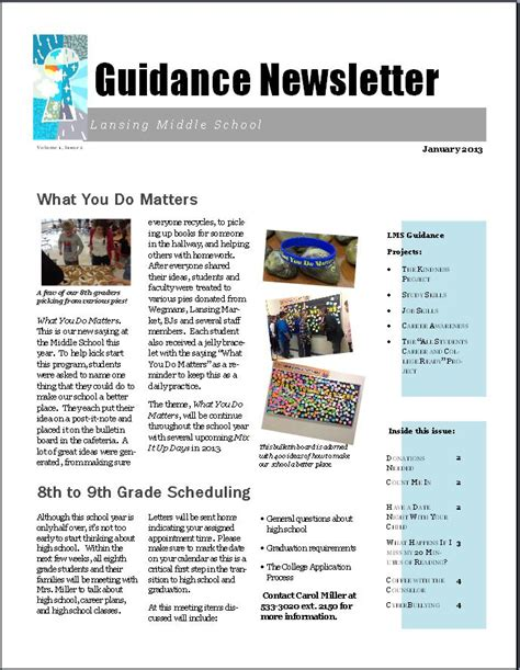 Getting The Word Out Newsletters The Middle School Counselor One Page Newsletter Template