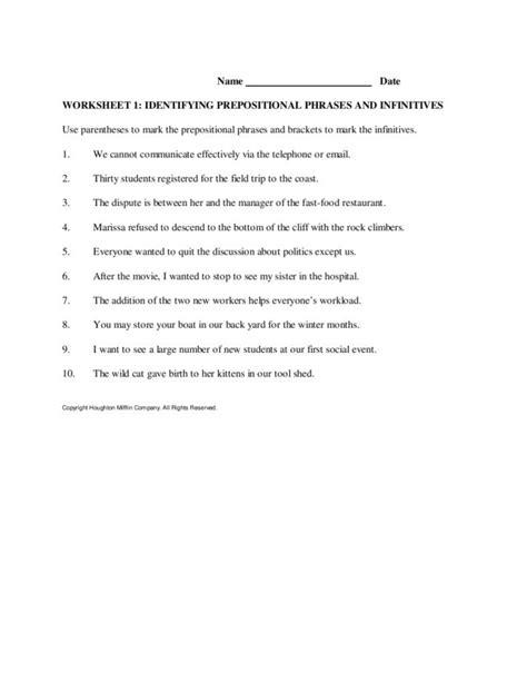 diagramming prepositional phrases worksheet prepositional phrase worksheets for second grade new 909