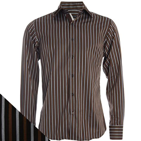 Stripe Shirt daniel rosso dr402 001 brown collar stripe shirt ebay