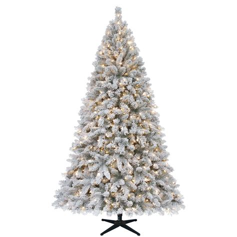 sears christmas trees artificial ty pennington style 7 5 ft clear pre lit white flocked artificial tree