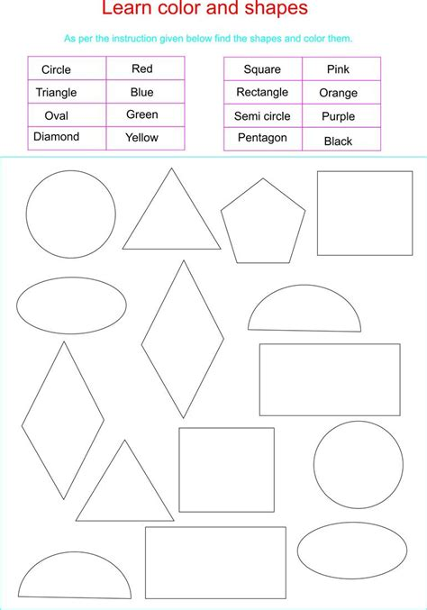 printable learning shapes learn colors and shapes together