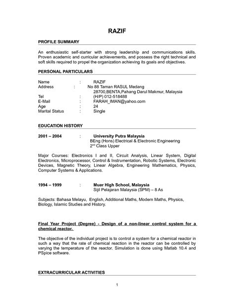 curriculum vitae format for graduate school professional cv exles for fresh graduates recentresumes