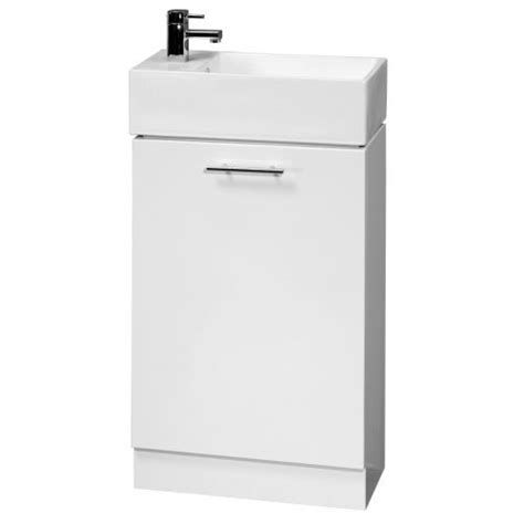 Bathroom Cloakroom Vanity Storage Furniture Units Gloss White Venice Bcve 480mm Wide White Gloss Bathroom Vanity Unit With Ceramic Basin Sink Compact Small Cloakroom