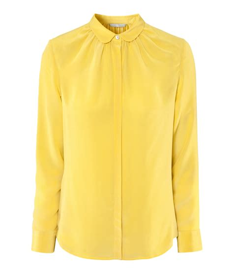 Blouse Yellow Fashion lyst h m silk blouse in yellow