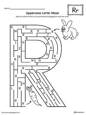 letter r worksheets uppercase letter r maze worksheet myteachingstation 1435