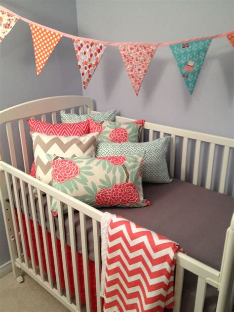 Coral And Grey Crib Bedding If I Had A Baby Pinterest Gray And Coral Crib Bedding