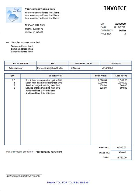 services rendered invoice template excel