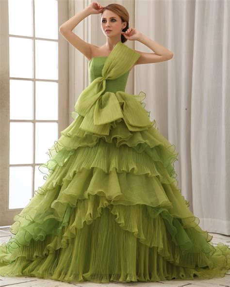 elegant collection green princess wedding dresses for