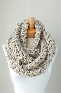 Crochet Chunky Infinity Scarf Soft Chunky Crochet Infinity Scarf In Oatmeal By