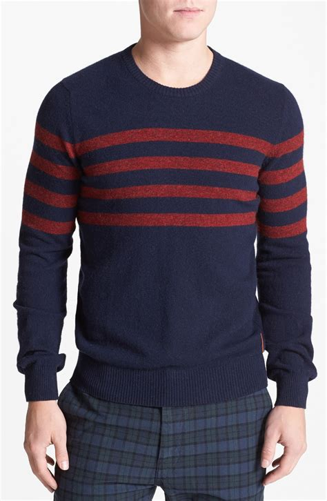 Fashion Find Staple Sweater by Ben Sherman Stripe Chest Crewneck Sweater In Blue For