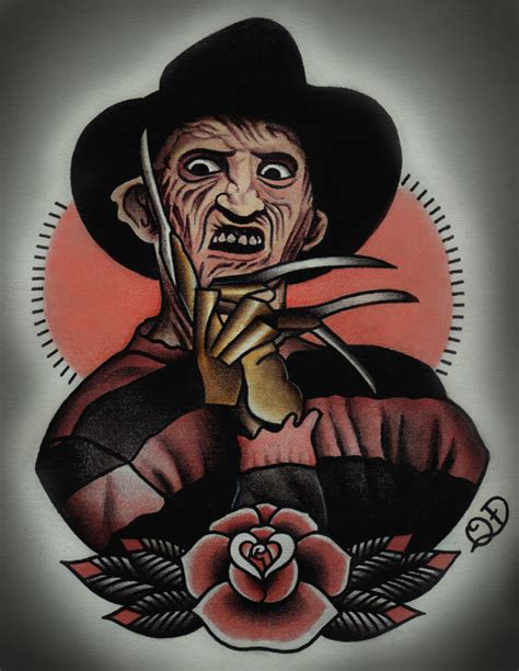 freddy krueger tattoo art print by parlortattooprints on etsy