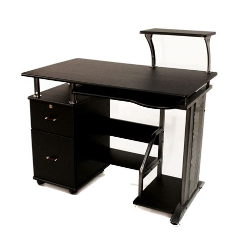 rolling desk storage wooden computer desk shelf drawer storage office
