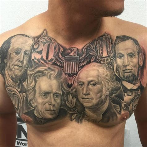 presidents with tattoos money presidents on chest chest