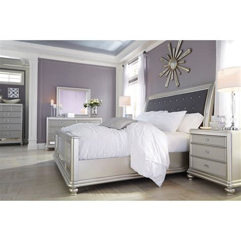 tatiana silver finish bedroom furniture signature design by ashley coralayne queen bed with