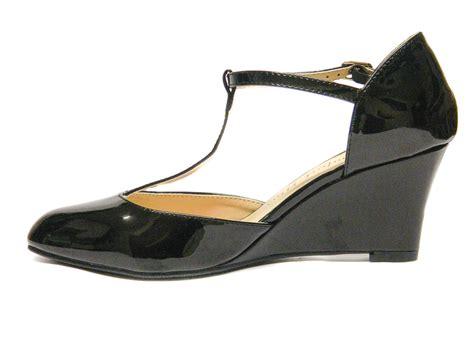 wide fit t bar wedge shoes uk size 3 8 comfort plus sissy black loar shoes
