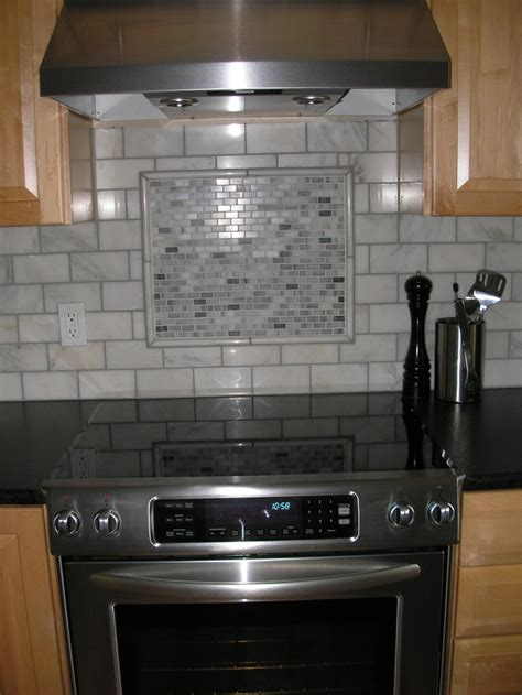 Kitchen Backsplash With Accent Mosaic Miniature Subway Tile Accent With Pencil Edge
