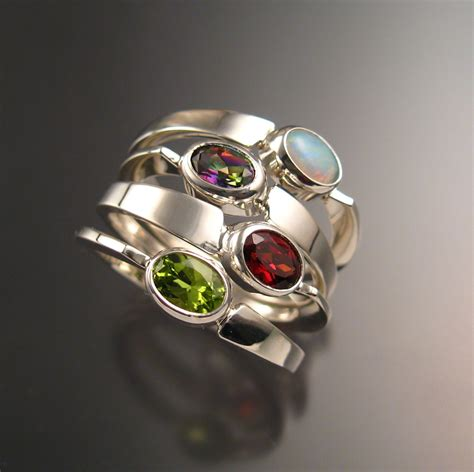 stackable mothers birthstone ring set of four asymmetrical
