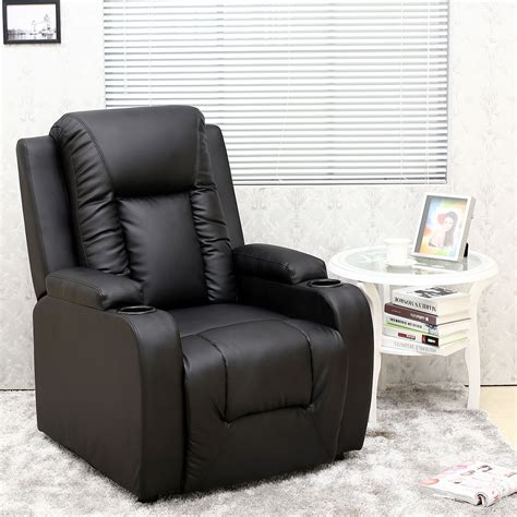 Gaming Chair With Cup Holder by Oscar Black Leather Recliner W Drink Holders Armchair Sofa