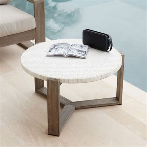 white outdoor coffee table mosaic tiled outdoor coffee table white marble elm