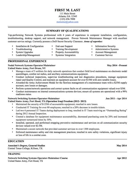 veteran resume uxhandy