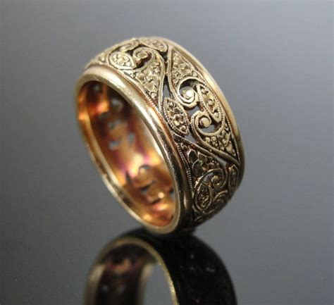 reserved outstanding retro gold filigree wide wedding band
