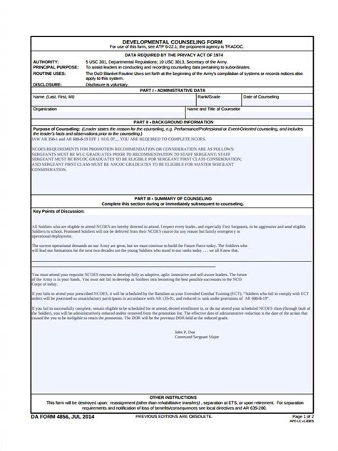 8 School Counseling Forms Free Sle Exle Format Download Army Counseling Templates