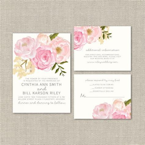 printable wedding invitations watercolor wedding invitation suite deposit diy watercolor floral