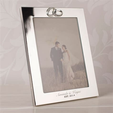 silwer rings photo engraved silver plated wedding photo frame with