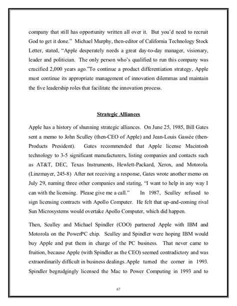 Mba Roles At Apple by Mba Project Report On Apple Inc