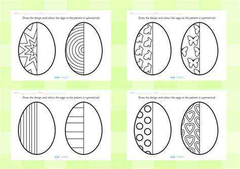 pattern worksheet twinkl twinkl resources gt gt easter egg symmetry sheets