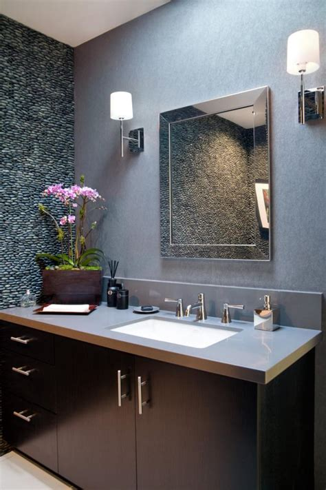 contemporary powder room  river rock accent wall hgtv