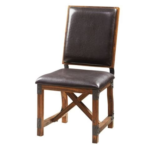 eco dining chairs industrial wood brown eco leather metal dining chair