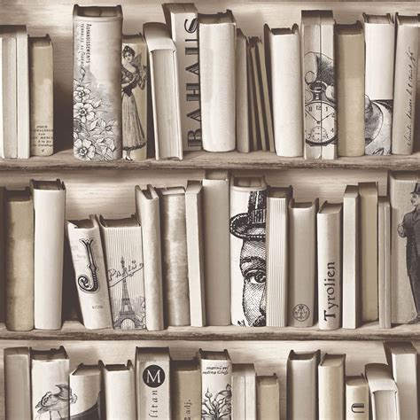 bookcase pattern wallpaper white feature wall