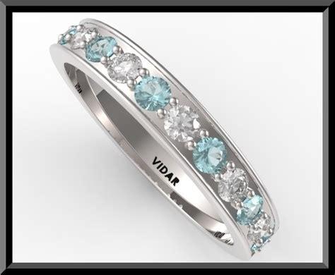 light blue engagement rings womens light blue aquamarine and wedding band half