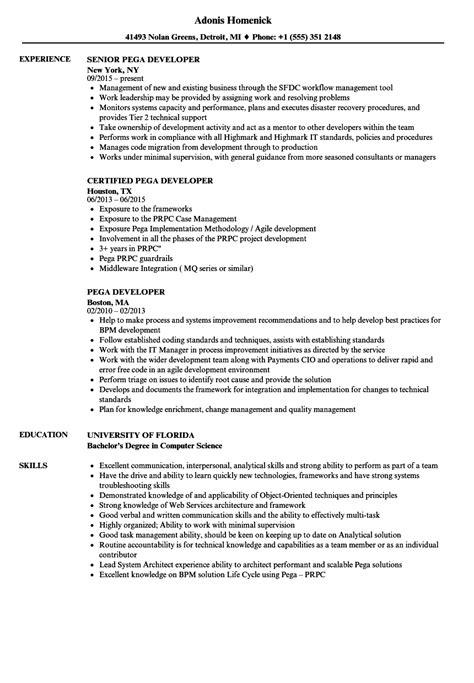 pega developer resume sles velvet