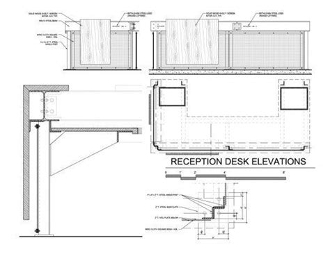 reception desk designs drawings reception desk construction drawings details