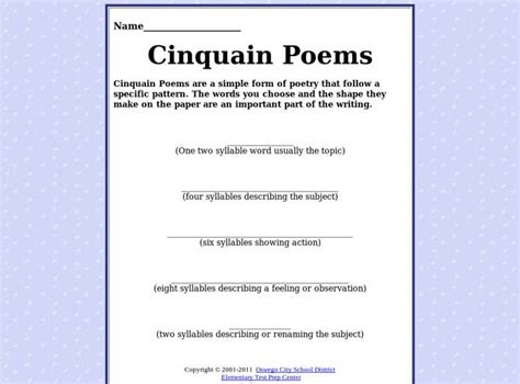 free poem templates cinquain poem template syllables search