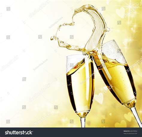 Two Champagne Glasses Abstract Heart Splash Stock Photo