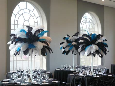 black and white ostrich feather centerpieces flower and event decor ostrich feather centerpieces january 2012