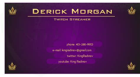 Twitch Streamer Business Card