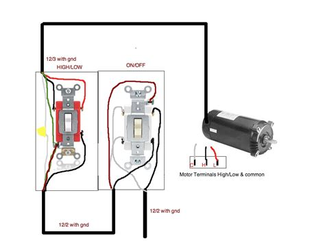 how to connect 2 speed pool motor to a toggle switch