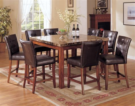 Rooms To Go Dining Tables Acme Bologna 7 Pc Marble Top Square Counter Height Dining Table Set In Brown By Dining Rooms Outlet
