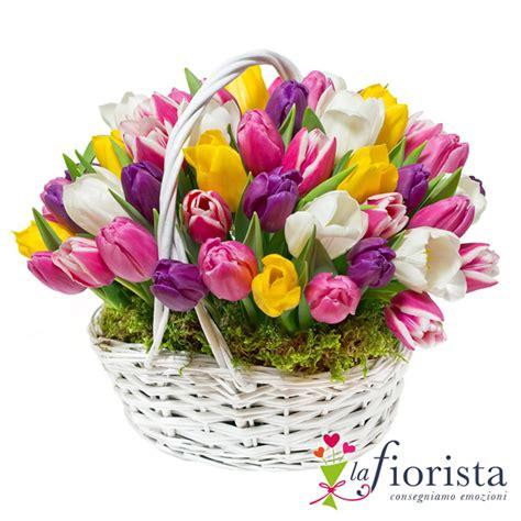 fiori tulipani vendita cestino di tulipani colorati consegna fiori a