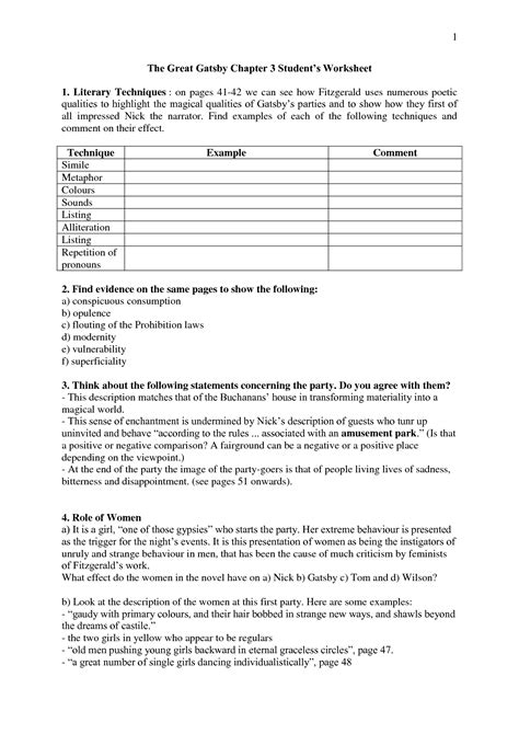 theme theories great gatsby answers worksheets for great gatsby the great gatsby chapter 3