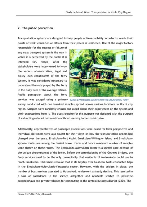 ernakulam varapuzha boat service report on inland water navigation