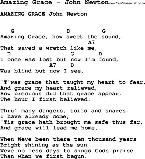 guitar tutorial amazing grace song amazing grace by john newton song lyric for vocal
