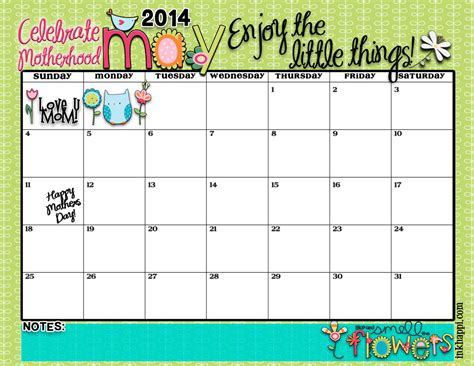 may 2014 calendar is here enjoy the little things