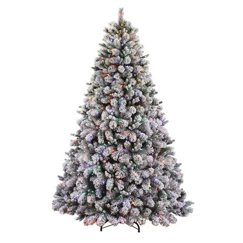 11ft pre lit artificial christmas living 7 5 ft pre lit albany pine flocked artificial tree with 600 multi
