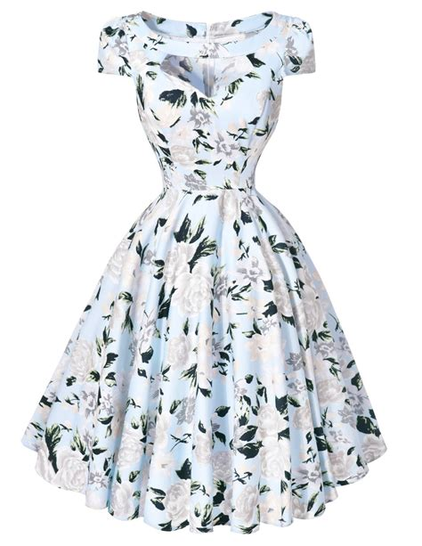 Dress Vintage Motif Print Burung aliexpress buy retro dresses summer 50s