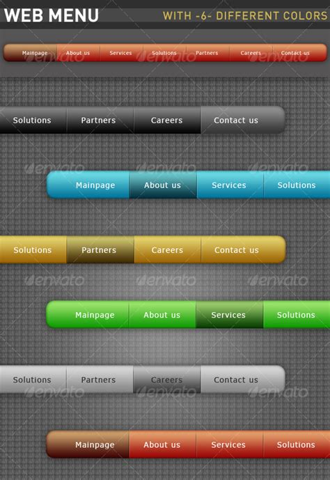 web menu with six different colors graphicriver